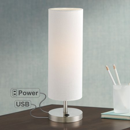 360 Lighting Modern Accent Table Lamp with Hotel Style USB and AC Power Outlet in Base Brushed Steel Off White Cylinder Shade for Living - Iron Base Accent Table Lamp