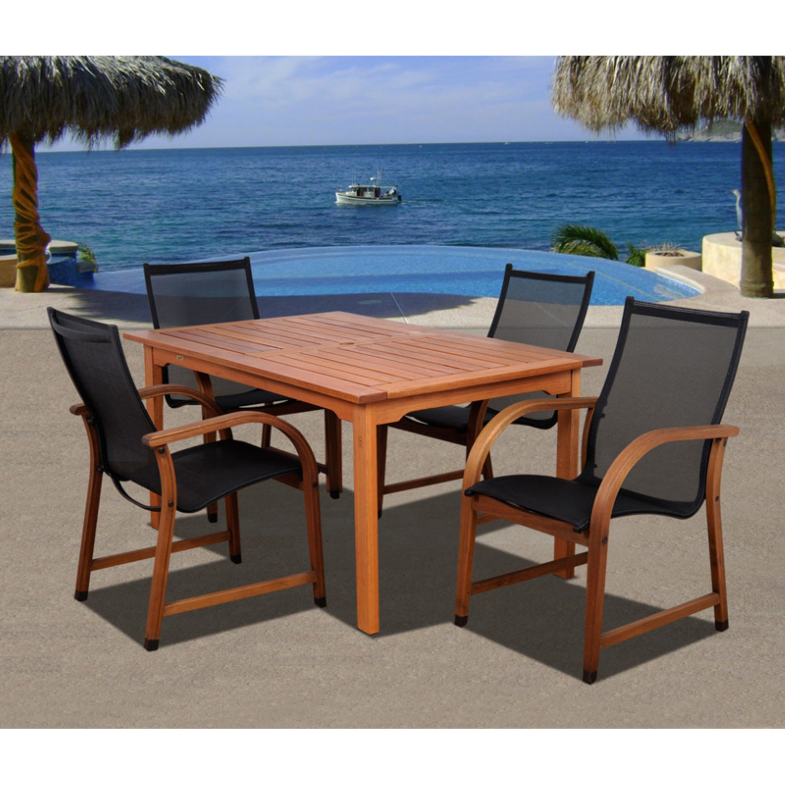 Amazonia Indiana 5 Piece Rectangular Eucalyptus Patio Dining Set