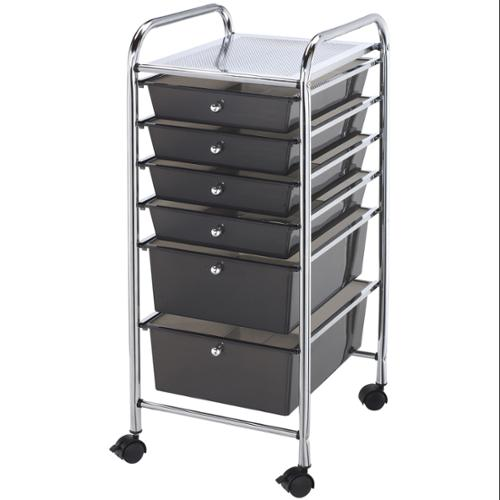 "Storage Cart w/6 Drawers 13""X32""X15.5""-Smoke"
