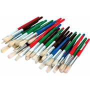 School Specialty Flat and Round Stubby Paint Brushes, Set of 36