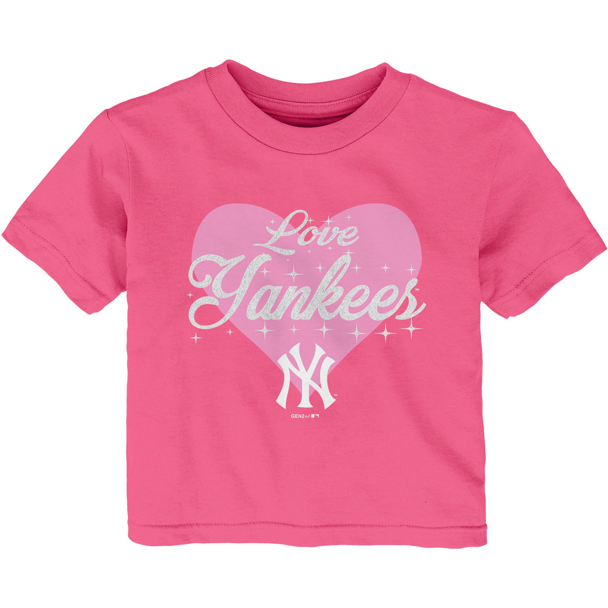 New York Yankees Girls Infant Heart Stars T-Shirt - Pink