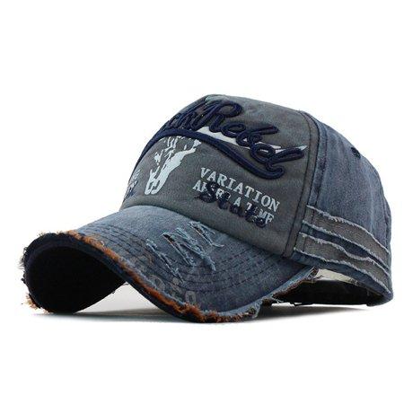 - Brand Men Baseball Cap Ripped Rim Fashion Embroidered Baseball Cap Visor Hat