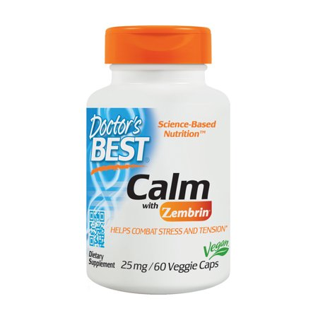Doctor's Best Calm with Zembrin, Non-GMO, Vegan, Gluten Free, Soy Free, Helps Combat Stress amd Tension, 60 Veggie