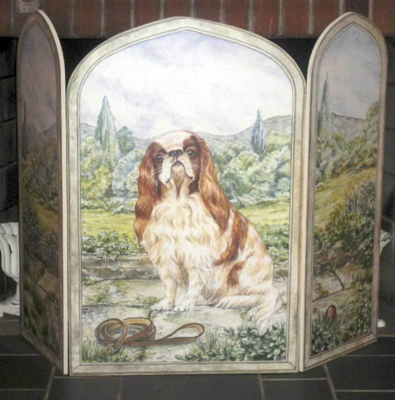 King Charles Spaniel 3 Panel Decorative Fireplace Screen
