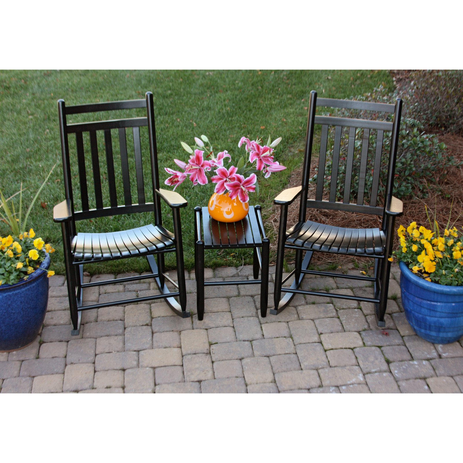 Dixie Seating Penrose 3 Piece Patio Rocking Chair Set - Black
