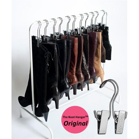 Boot Rack - The Boot Rack Garment with Hangers Fits in Most Closets, 6 Silver Boot Hangers included