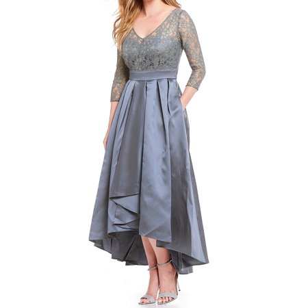 Womens Dress Slate Satin Lace Metallic Gown 10 Metallic Lace Gown