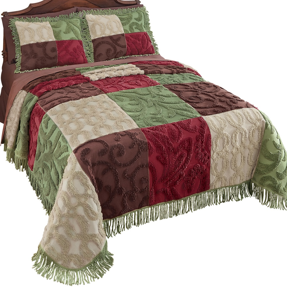 Colorful Patchwork Chenille Fringe Lightweight Bedspread, King, Green