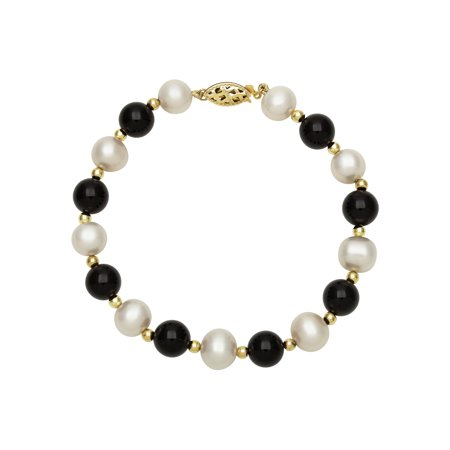 Gold Black Onyx Bracelet (Genuine Cultured Freshwater Pearl and Black Onyx 14K Yellow Gold Strand Bracelet, 7.5
