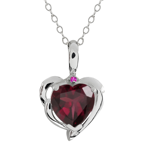 2.02 Ct Heart Shape Red Rhodolite Garnet Pink Sapphire 18K White Gold Pendant by