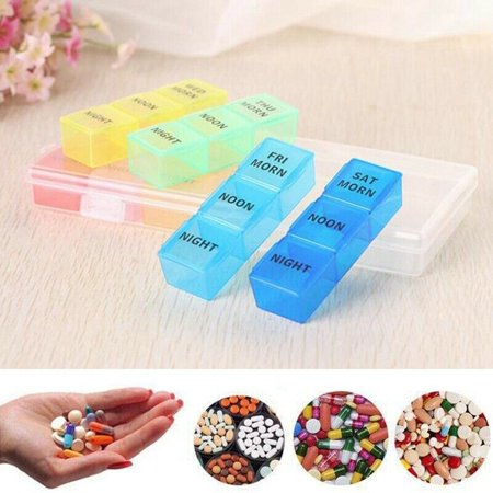 KABOER 21Grids 7 Day Weekly Pill Storage Medicine Tablet Holder Organizer Container 7 Day Pill Holder