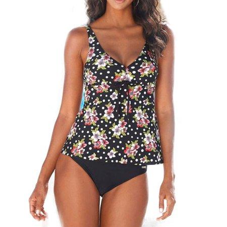 a95cb2a53b754 Womens Floral Tankini Set Push Up Bikini Tops Padded Swimsuit Swimwear  Bathing