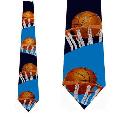 Basketball Rim Shot (Navy) Necktie Mens Tie (Basketball Mens Tie)