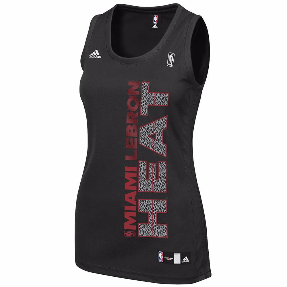 Lebron James Miami Heat NBA Adidas Women's Black Replica Jersey