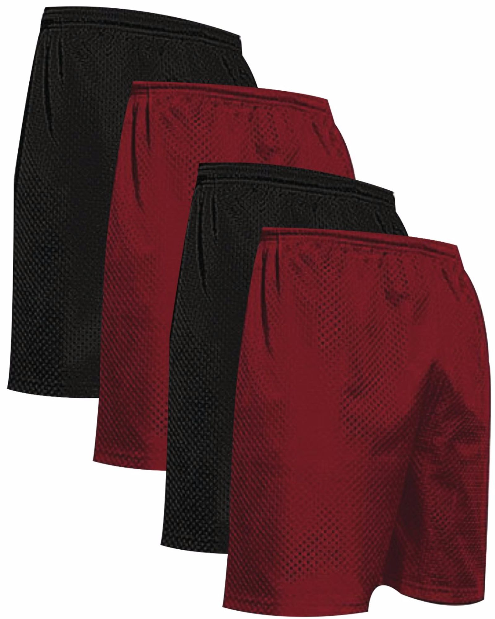 """VALUE PACK  > BUY 2 GET 2 FREE >  4 PACK > THE RAM BRAND > Men's  9"""" Performance Pro Mesh Gym Champ Shorts (XS-4XL) $10 S/H is on the 1st Pack only. In this Pack: (XS)(2Black/2Cardinal)"""