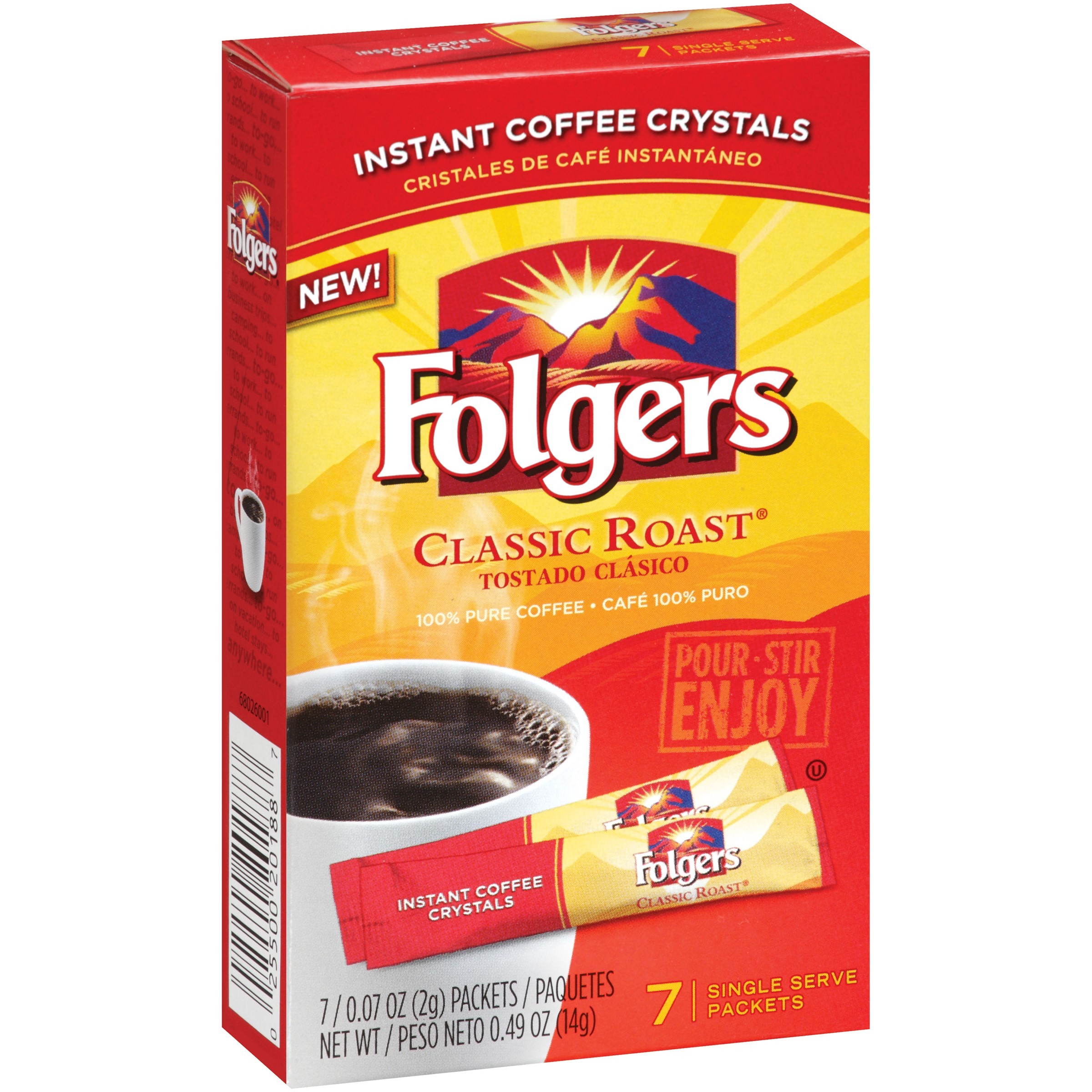 Folgers Instant Coffee, Classic, 7 Ct