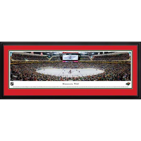 Minnesota Wild Center Ice at Xcel Energy Center Blakeway Panoramas NHL Print with Deluxe Frame and Double Mat by