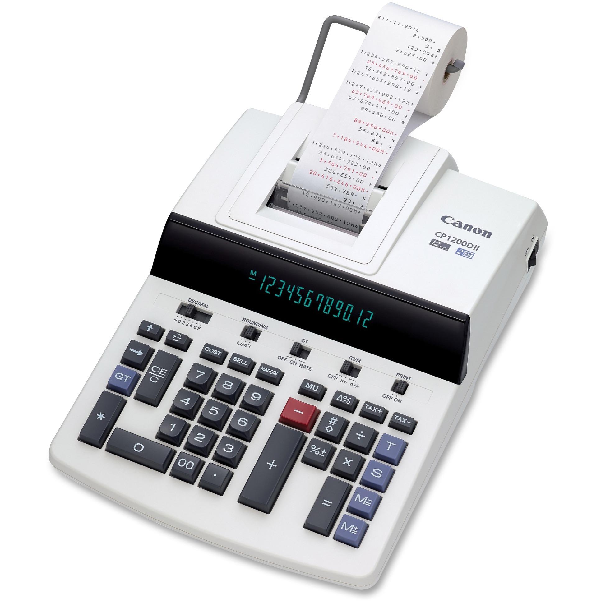 Canon CP1200DII 12-Digit Commercial Desktop Printing Calculator, BK/RD Print, 4.3L/Sec