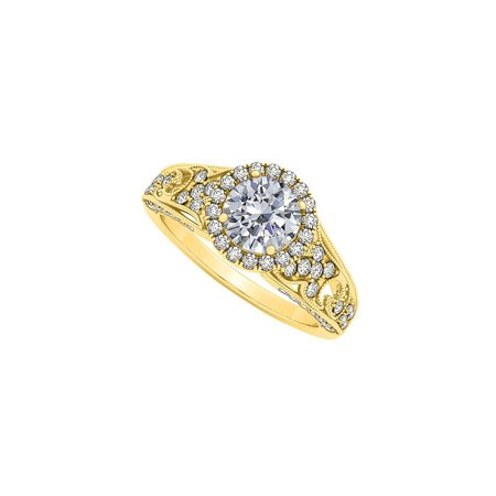 April Birthstone Cubic Zirconia Embedded in Halo Engagement Ring 14K Yellow Gold 1.25 CT TGW. - image 2 of 2