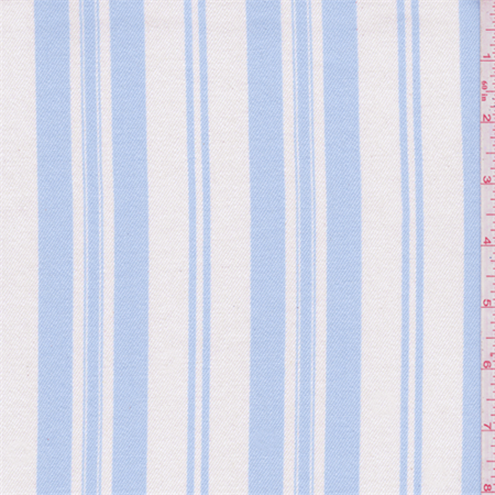 Blue Striped Fabric - Shabby Chic White/Pale Blue Stripe Twill, Fabric Sold By the Yard
