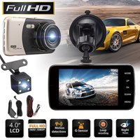"4"" TFT 170° Full HD 1080P Car Driving Camera Recorder camera monitor DVR Dash Cam Night Vision Recorder Dual Camera Reversing with G-Sensor Motion Detection Parking Monitor"