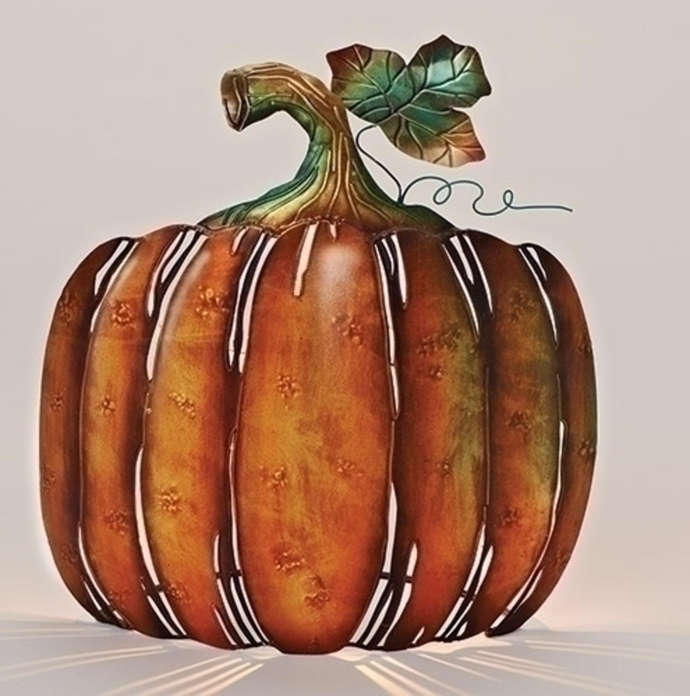 "Roman 13"" Autumn Metal Pumpkin Tabletop Votive Candle Holder - Orange/Green"