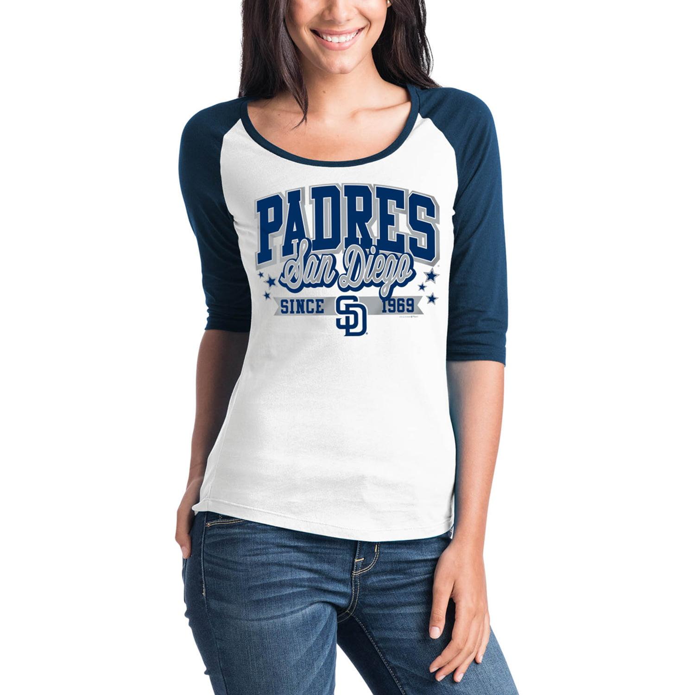 San Diego Padres 5th & Ocean by New Era Women's Team Banner 3/4-Sleeve Raglan T-Shirt - White/Navy