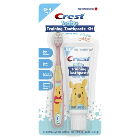 Crest Training Toothpaste Kit, Fluoride Free, Mild Strawberry Gel Toothpaste 1.6 oz + 1 Toothbrush, featuring Disney Winnie the Pooh