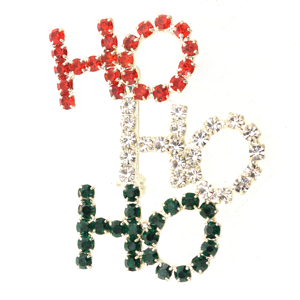 Christmas Colored HO HO HO Brooch Pin