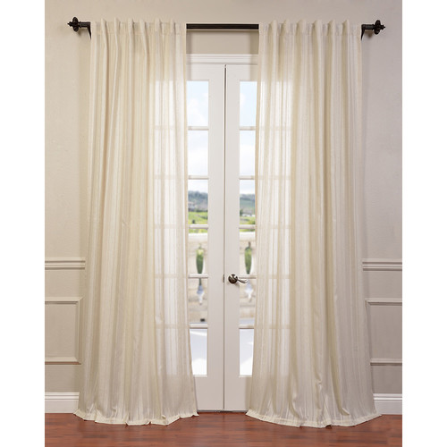 Half Price Drapes Cayman Striped Linen Sheer Single Curtain Panel