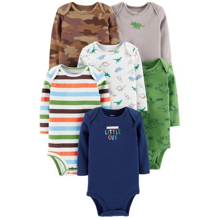 Carter's Baby Boys' 6 Pack Long Sleeve Bodysuits- Dino - Dinosaur Onesie