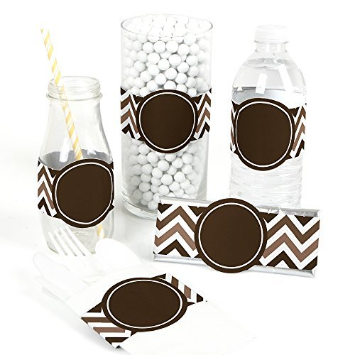 Chevron Brown - DIY Party Wrapper Favors - Set of 15