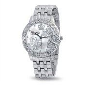 3D Butterfly White Crystal Round Bezel Dial Face Wrist Watch Bracelet Band For Women Silver Tone Steel Back Quartz