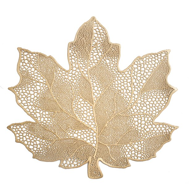 Mainstays Vinyl Harvest Maple Leaf Pressed Brass Placemat Walmart Com Walmart Com