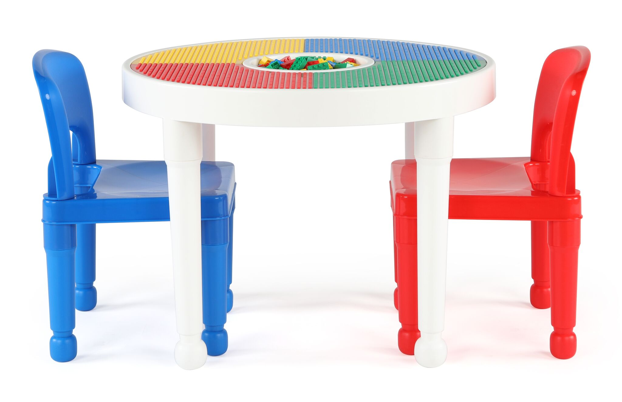 Kids Plastic Lego Activity Table And 2 Chairs Set Child