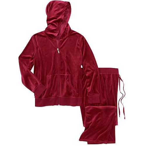 Danskin Now Women's Plus-Size Velour Hoodie and Pant Set