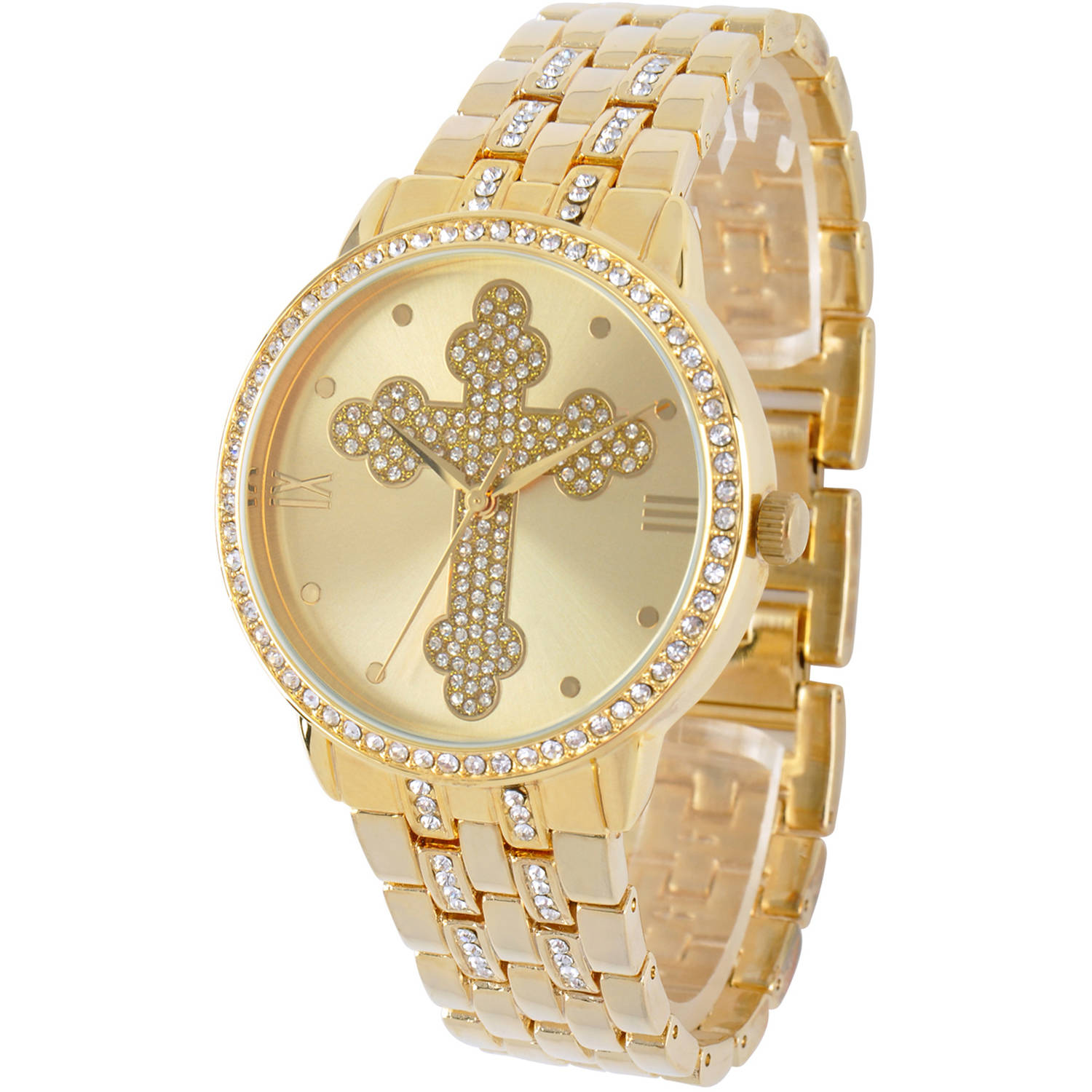 Cross Round Bracelet Watch, Gold by EWatchFactory