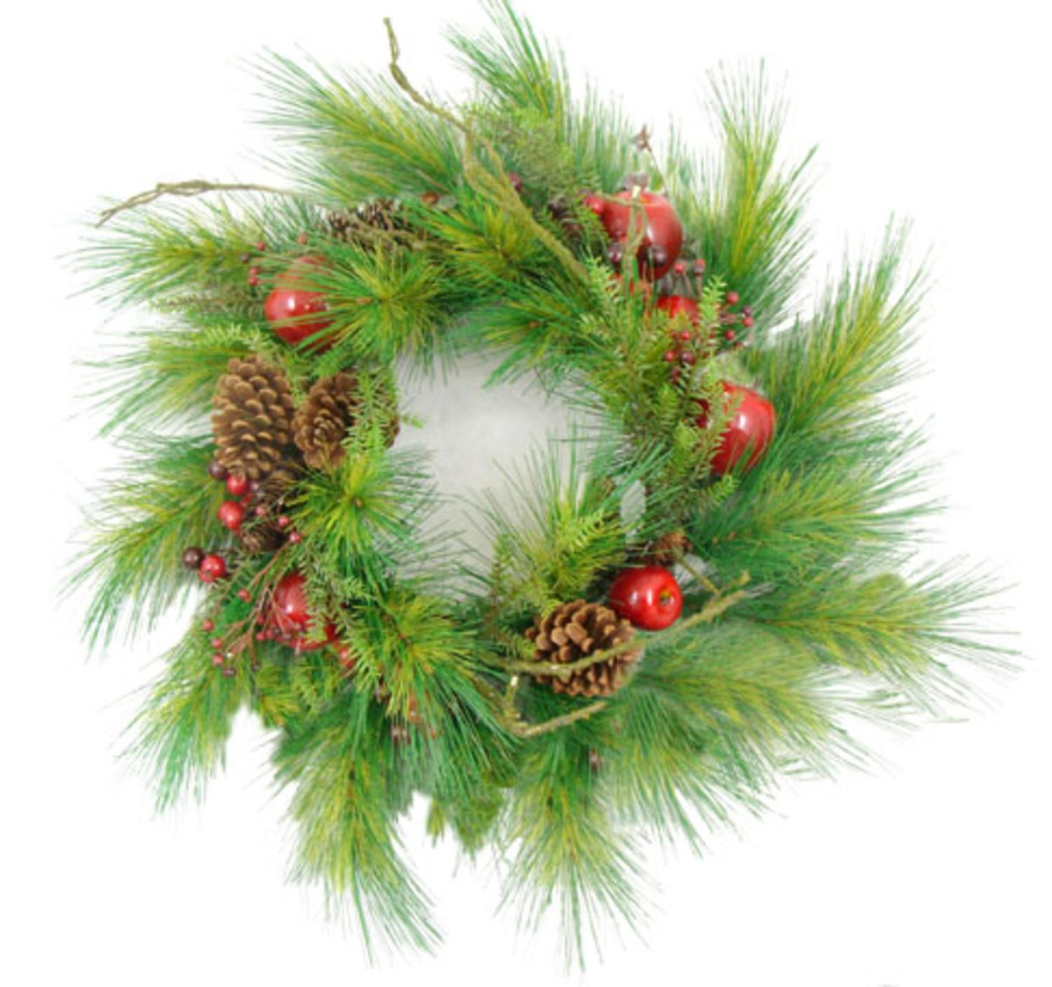 """24"""" Apple Berry & Pine Cone Artificial Christmas Wreath"""