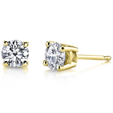 14 Karat Yellow Gold Lab-Grown Diamond Stud Earrings (1/5 ctw, H-I Color, SI Clarity)