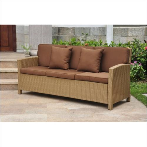 International Caravan Valencia Outdoor Patio Sofa in Honey and Dark Chocolate