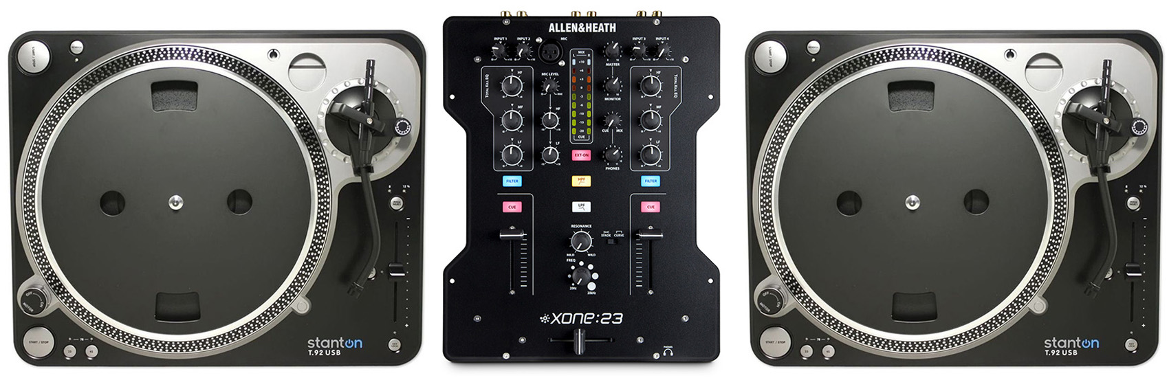 (2) Stanton T.92 USB Direct Drive Turntable T.92USB T92 + Allen & Heath XONE:23 Mixer by Stanton