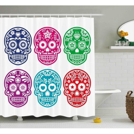 Day Of The Dead Decor Shower Curtain, Skull Oriental Mexican Sugar for Festive, Fabric Bathroom Set with Hooks, 69W X 70L Inches, Purple Fuchsia Indigo Turquoise Green, by Ambesonne