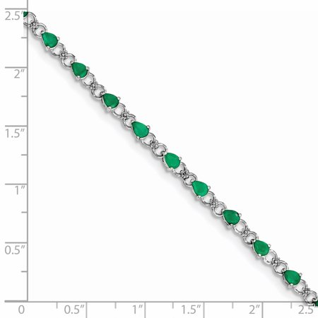 925 Sterling Silver Rhodium-plated Emerald and Diamond Bracelet - image 2 de 2