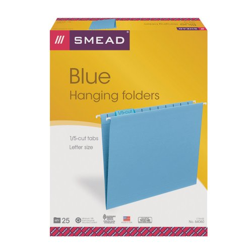"Smead 64060 Blue Colored Hanging Folders With Tabs - Letter - 8.50"" X 11"" - 1/5 Tab Cut - Assorted Position Tab Location - Blue - 25 / Box (SMD64060)"