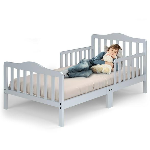 Costway Kids Toddler Wood Bed Bedroom Furniture w/ Guardrails