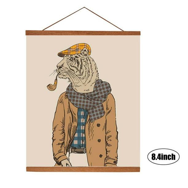 Duokon Modern Magnetic Wooden Photo Frame DIY Custom Poster Scroll Prints Artwork Hanger Teak Wood 30