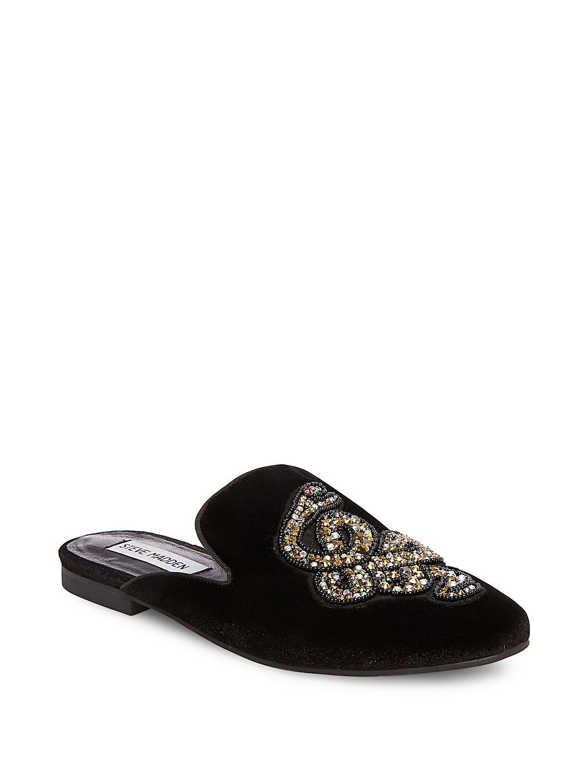 385db68a83c Steve Madden - Womens Steve Madden Hydes Front Bejeweled Backless Loafer  Flats