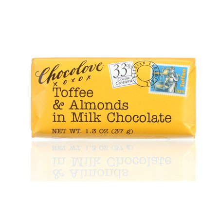 Chocolove Toffee And Almond Milk Chocolate Mini Bar, 1.3-Ozs (Pack Of 12)