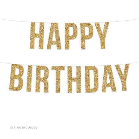 Gold Happy Birthday Banner (Includes String, No Assembly Required)](Hapy Birthday Banner)