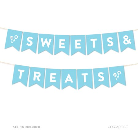 Sweets & Treats Baby Blue Boy Baby Shower Hanging Pennant Garland Party Banner - Trick Or Treat Banner